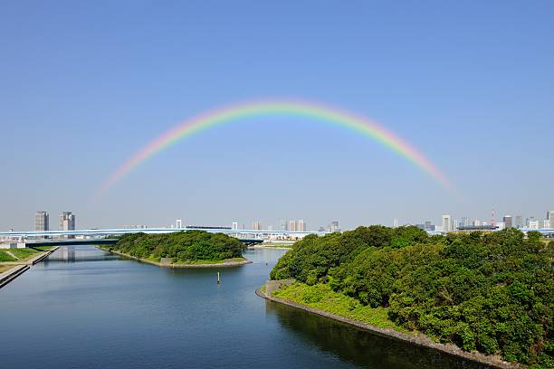Yurikamome railway bridge over river, with rainbow over city. Ariake, Koto Ward, Tokyo Prefecture, Japan:スマホ壁紙(壁紙.com)
