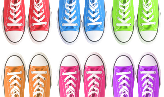 Purple Shoe「Set of six colorful sneakers over a white background」:スマホ壁紙(0)
