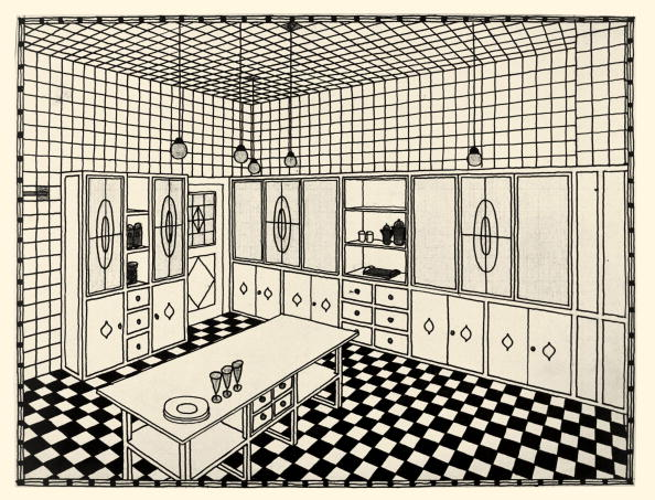 Avenue「Draft for the kitchen in the Stoclet Palace (Palais Stoclet or Stocletpaleis) in Brussels, 281 avenue de Tervueren. Blueprint from the atelier Josef Hoffmann. 1905-1910.」:写真・画像(2)[壁紙.com]