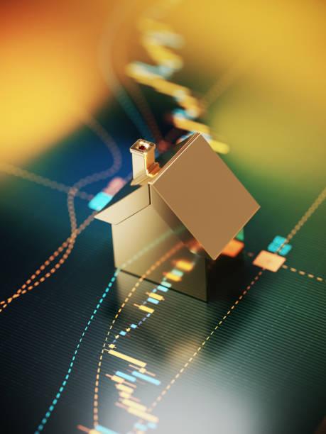 House Symbol Sitting over A Bar Graph - Stock Market and Real Estate Concept:スマホ壁紙(壁紙.com)