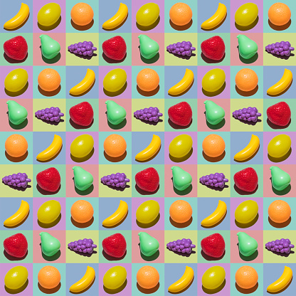 Vegetarian Food「Plastic fruit collage」:スマホ壁紙(11)