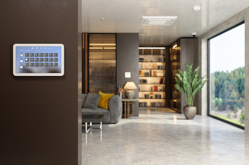 Internet of Things「Smart Home Control System With App Icons On A Digital Screen In Living Room With Blurred Background.」:スマホ壁紙(6)