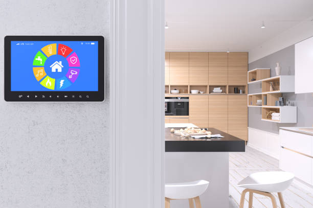 Smart Home Control with modern kitchen:スマホ壁紙(壁紙.com)