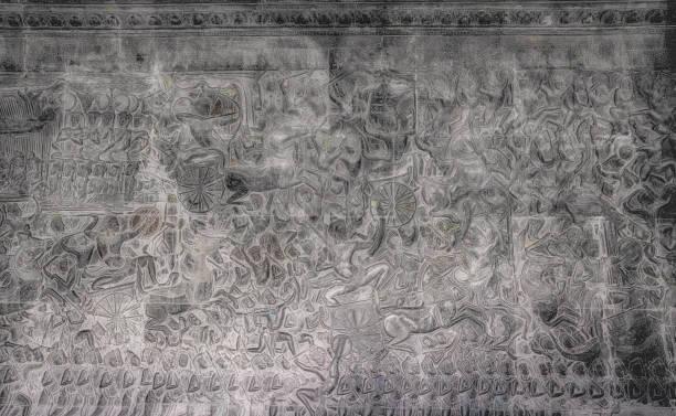 Warlike bas-relief on the walls of Angkor Wat Cambodia:スマホ壁紙(壁紙.com)
