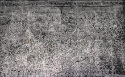 Battle「Warlike bas-relief on the walls of Angkor Wat Cambodia」:スマホ壁紙(8)