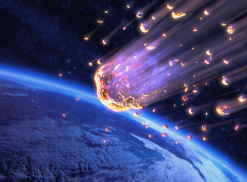 Accidents and Disasters「Meteor shower speeding toward Earth (digital composite)」:スマホ壁紙(2)