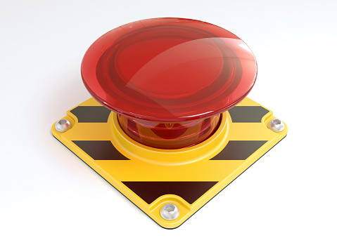 Push Button「Big red button on yellow and black metal on white background」:スマホ壁紙(13)