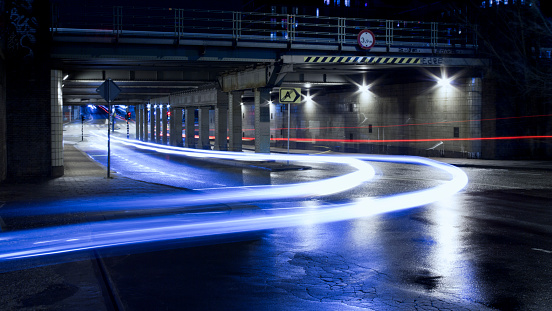 Netherlands「Urban road with light trails at night in Amsterdam」:スマホ壁紙(11)