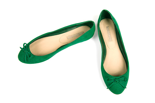 White Background「Isolated pair of green flat shoes with bow」:スマホ壁紙(14)