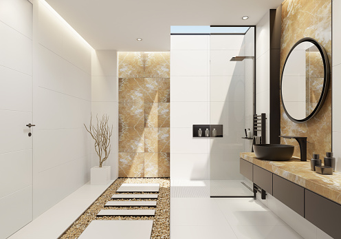Villa「Luxury white bathroom with gold onyx and bold black details」:スマホ壁紙(14)
