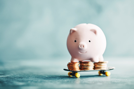 Saving up for a Rainy Day「Little pink piggy riding on a skateboard with money」:スマホ壁紙(17)