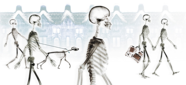 Briefcase「Skeletons walking through neighborhood」:スマホ壁紙(2)