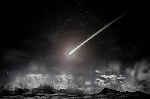 Digital Composite「Comet over remote landscape」:スマホ壁紙(15)