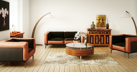 Hinduism「Stylish and Refined Asian Living Room」:スマホ壁紙(4)