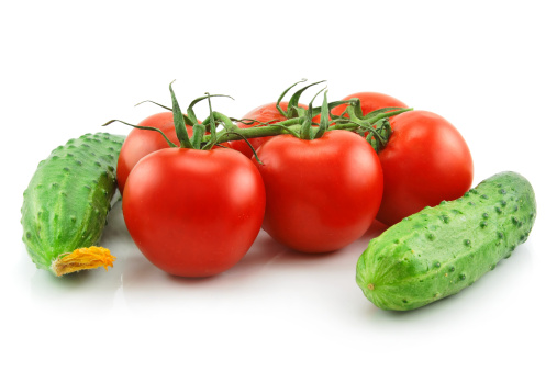 Clean「Ripe Tomatoes and Cucumbers Isolated on White」:スマホ壁紙(13)