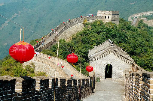 Fortified Wall「Great wall of China with watchtower and lanterns ,Beijing」:スマホ壁紙(8)