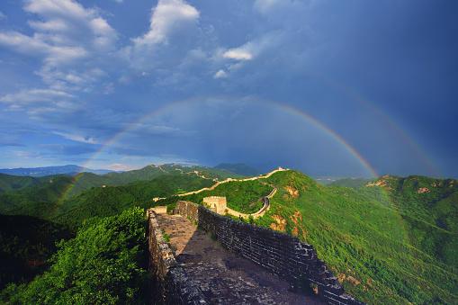 虹「Great Wall and Double Rainbow」:スマホ壁紙(4)