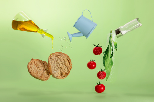 Green Background「Rocket, tomato and bread with olive oil」:スマホ壁紙(19)