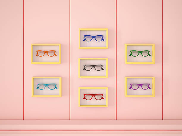 Colourful glasses in yellow frames hanging on pink wall:スマホ壁紙(壁紙.com)