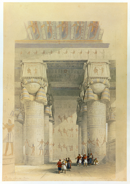 Architectural Column「View From Under The Portico Of The Temple At Denderah Egypt 19th Century」:写真・画像(7)[壁紙.com]