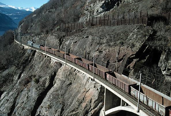 Blank「Freight train at Lotscherg Railway track - Swiss Alps - canton of valais - Switzerland」:写真・画像(9)[壁紙.com]
