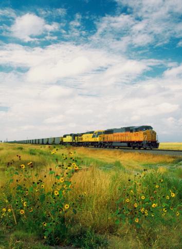 鉄道・列車「Freight train passing through a field, North Dakota, USA」:スマホ壁紙(0)