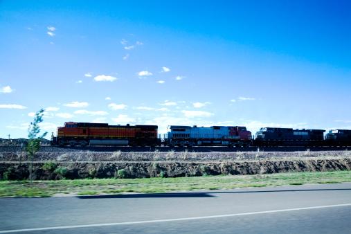 Side View「Freight train traveling alongside road, side view」:スマホ壁紙(10)