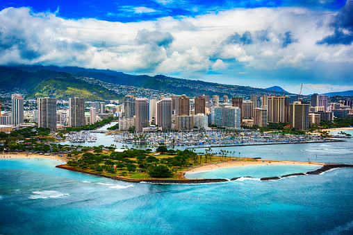 Marina「Skyline Aerial of Honolulu Hawaii」:スマホ壁紙(10)