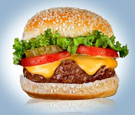 Leaf Vegetable「Cheeseburger on white」:スマホ壁紙(13)
