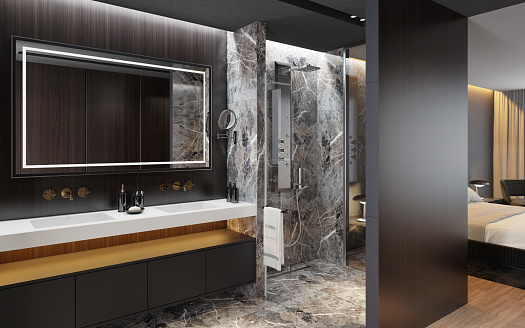 Wood Paneling「Luxurious apartment master bedroom interior with bathroom with shower. Big marble tiles. inspired by high class hotel room.」:スマホ壁紙(9)