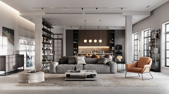 Indoors「Luxurious and modern living room 3D rendering」:スマホ壁紙(14)