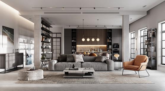 Furniture「Luxurious and modern living room 3D rendering」:スマホ壁紙(10)