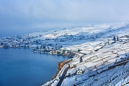 Vaud Canton「Lavaux Vineyards at Winter Sunrise, Switzerland」:スマホ壁紙(8)