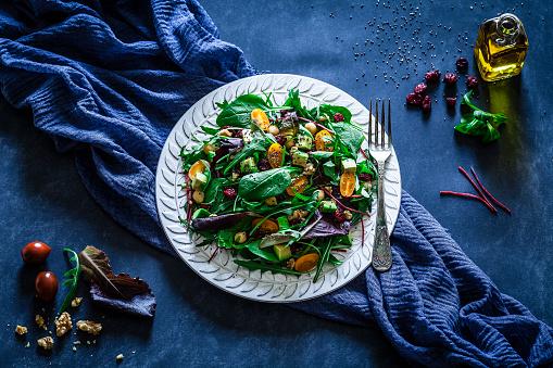 Plate「Healthy fresh salad plate on bluish tint table」:スマホ壁紙(8)