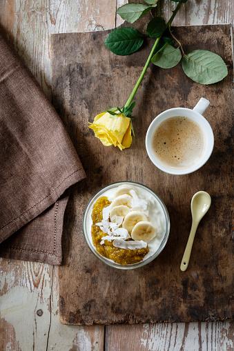 Rose「Chia mango yogurt with banana and cup of coffee」:スマホ壁紙(7)