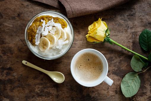 Rose「Chia mango yogurt with banana and cup of coffee」:スマホ壁紙(6)