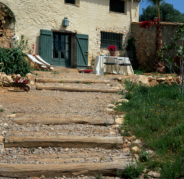 Grass Family「View of steps made of wooden logs on a sunny day」:写真・画像(17)[壁紙.com]