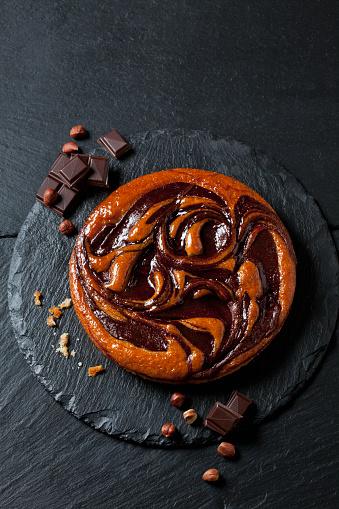 Cocoa「Chocolate cake, hazelnuts and bittersweet chocolate on slate」:スマホ壁紙(0)