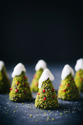Christmas cake「Chocolate cake, christmas tree shaped, decorated with pistachio and icing」:スマホ壁紙(10)