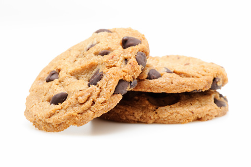 Sweet Food「Chocolate chip cookies on white」:スマホ壁紙(1)