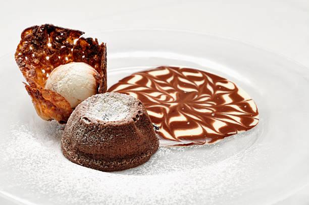 Chocolate cake with ice cream with pine nuts:スマホ壁紙(壁紙.com)
