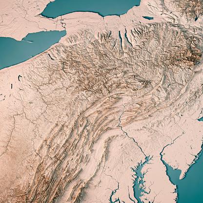 Pennsylvania「Pennsylvania State USA 3D Render Topographic Map Neutral」:スマホ壁紙(3)