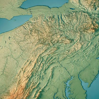 地図「アメリカ合衆国ペンシルベニア州 3 D のレンダリングの地形図」:スマホ壁紙(1)