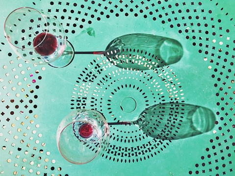 Two Objects「Two empty wine glasses on a metal table」:スマホ壁紙(16)