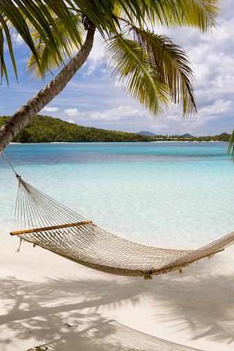 Island「Hammock hung on palm trees on a Caribbean beach」:スマホ壁紙(9)