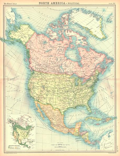 North America「Political Map Of North America Artist Unknown」:写真・画像(6)[壁紙.com]