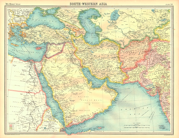 Middle East「Political Map Of South Western Asia Artist Unknown」:写真・画像(7)[壁紙.com]