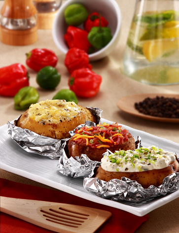 Sour Cream「Baked and Stuffed Potatoes on a plate」:スマホ壁紙(13)