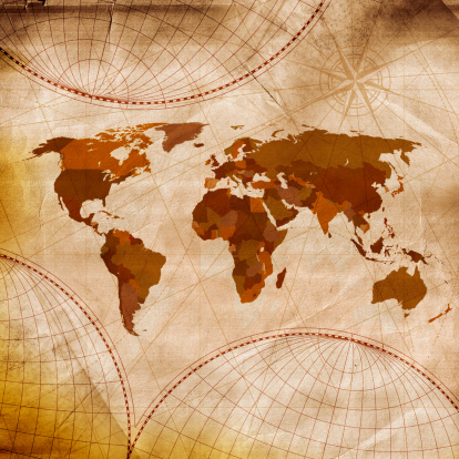 Map of the world「オールドワールドマップ茶色の色合いに白と」:スマホ壁紙(19)