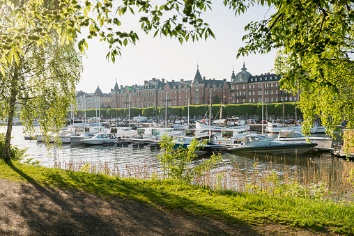 Boulevard「Central Stockholm in the summer, view of Strandvagen on Ostermalm with sailing boats, yachts on Lake Malaren, seen from Djurgarden」:スマホ壁紙(6)